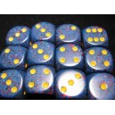 Set 12 dadi D6 16mm Speckled (giallo/blu sfumato)