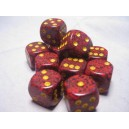 Set 12 dadi D6 16mm Speckled (giallo/rosso puntinato)